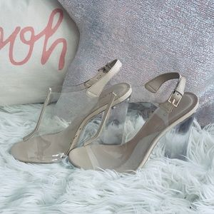 ALDO blush leather with acrylic heals shoes
